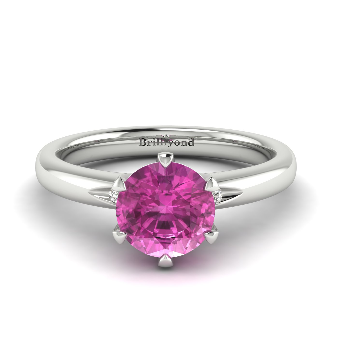 Pink Sapphire White Gold Solitaire Engagement Ring Byond_image2