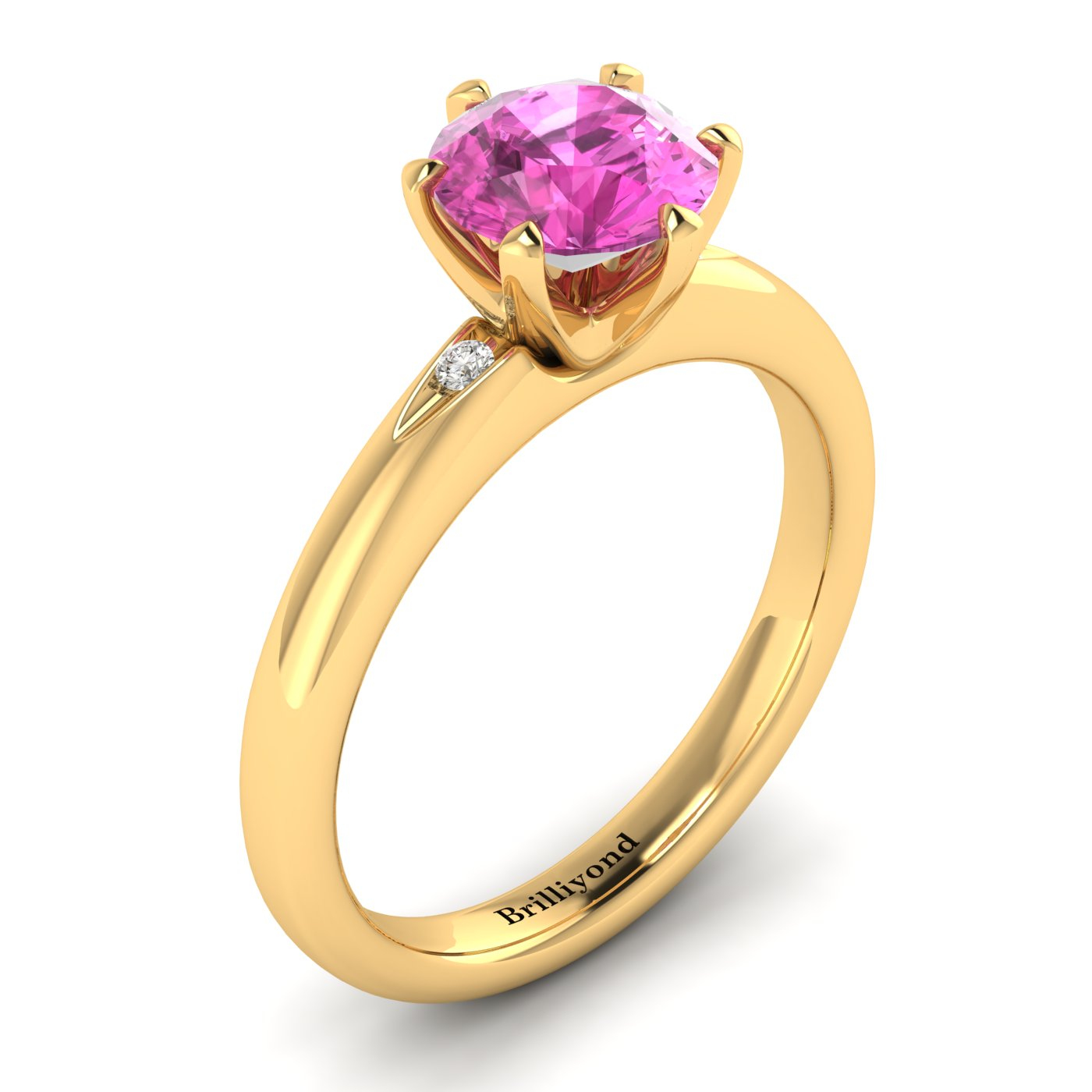 Pink Sapphire Yellow Gold Solitaire Engagement Ring Byond_image1