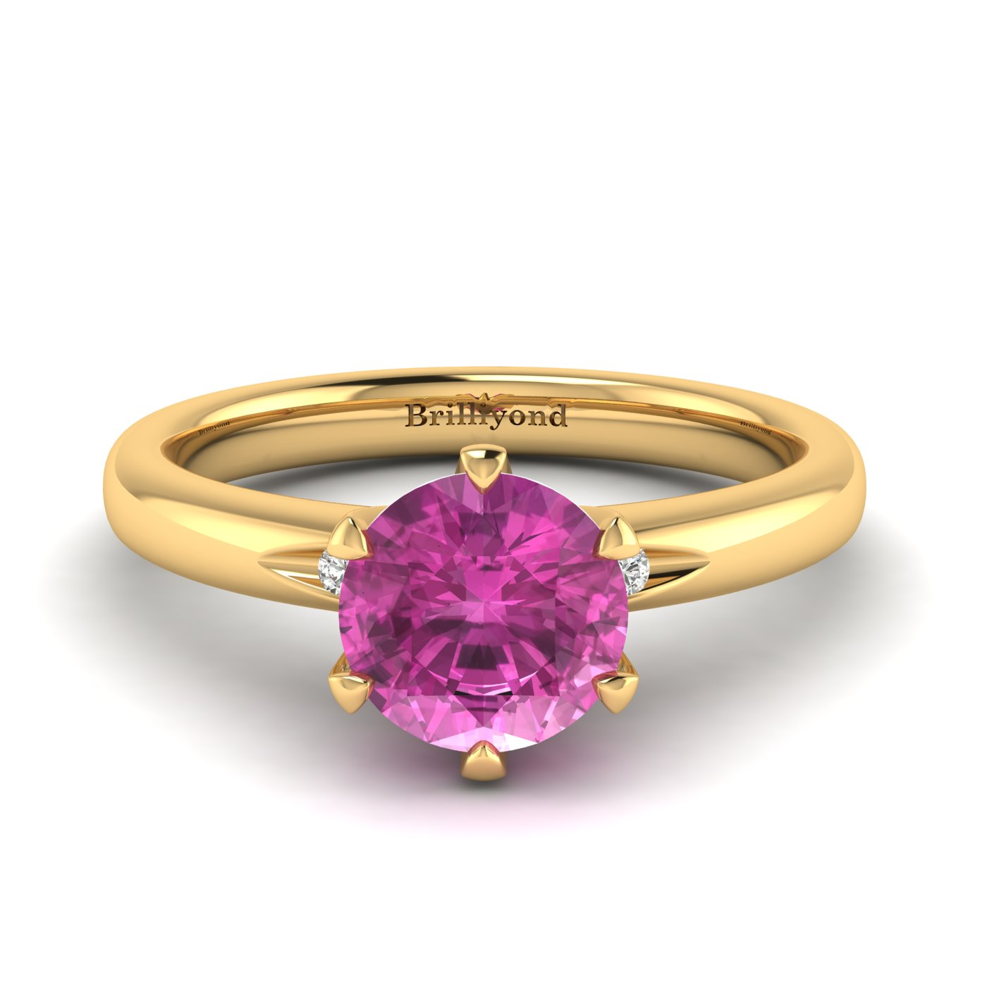 Pink Sapphire Yellow Gold Solitaire Engagement Ring Byond_image2