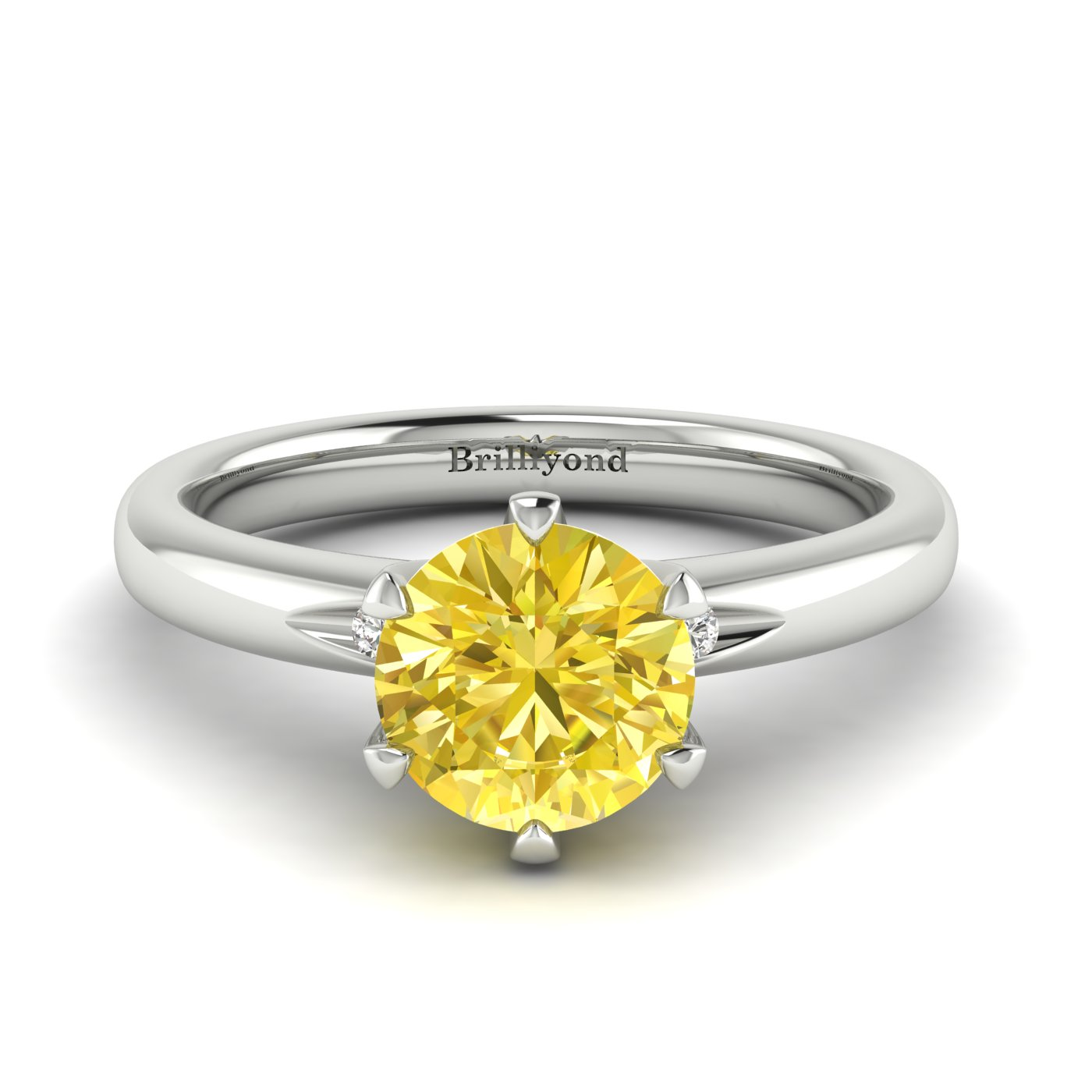 Yellow Sapphire White Gold Solitaire Engagement Ring Byond_image1