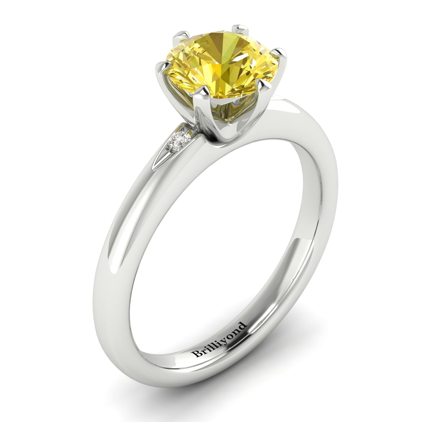 Yellow Sapphire White Gold Solitaire Engagement Ring Byond_image2