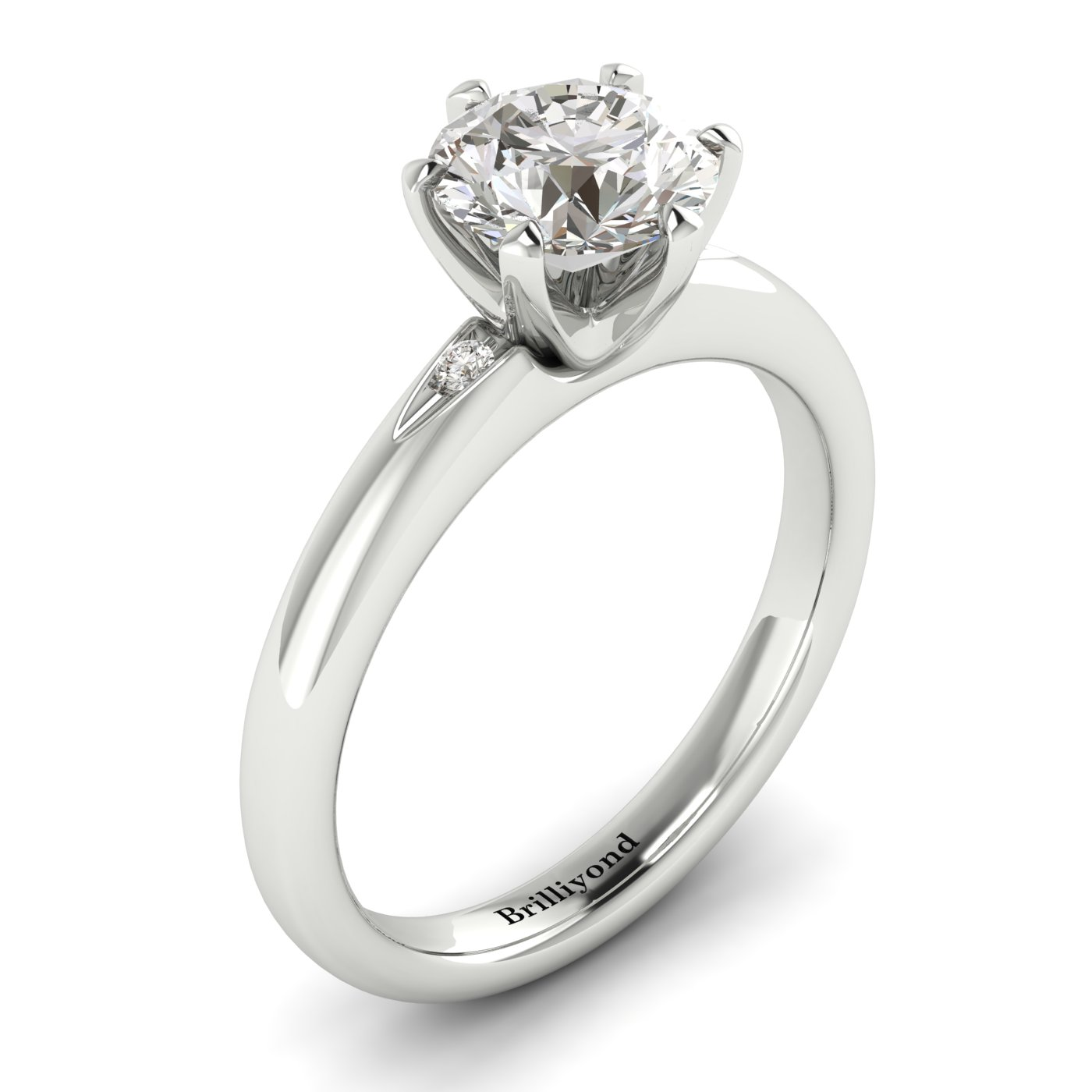 Diamond White Gold Solitaire Engagement Ring Byond_image1
