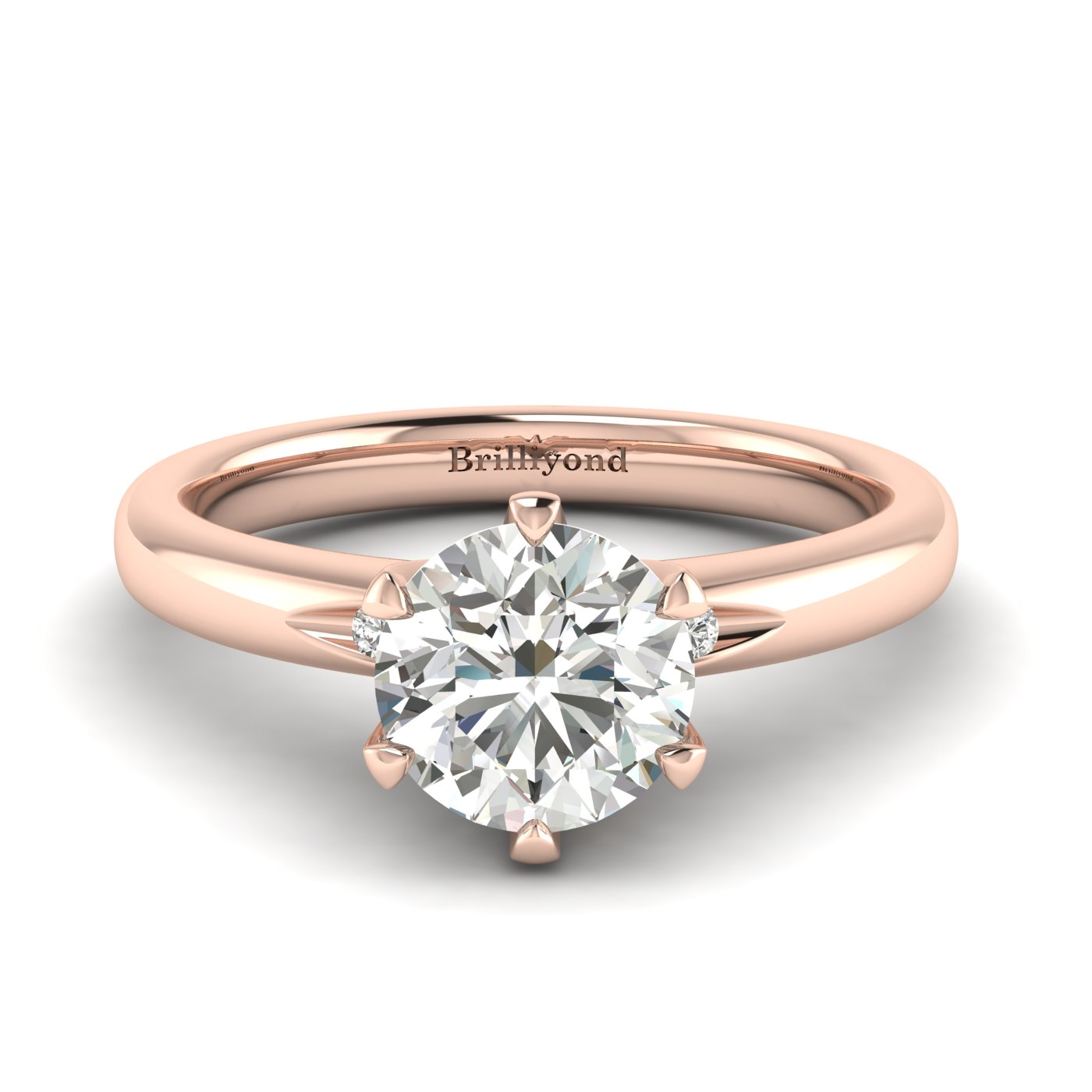Diamond Rose Gold Solitaire Engagement Ring Byond_image1
