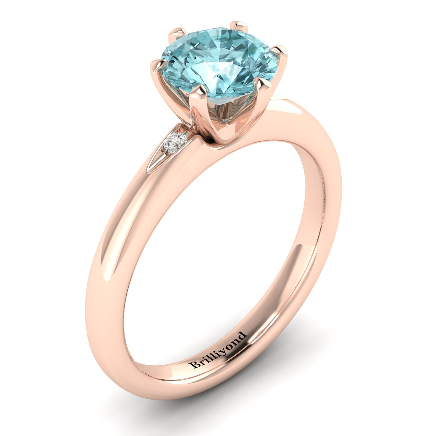 Aquamarine Rose Gold Solitaire Engagement Ring Byond_image1