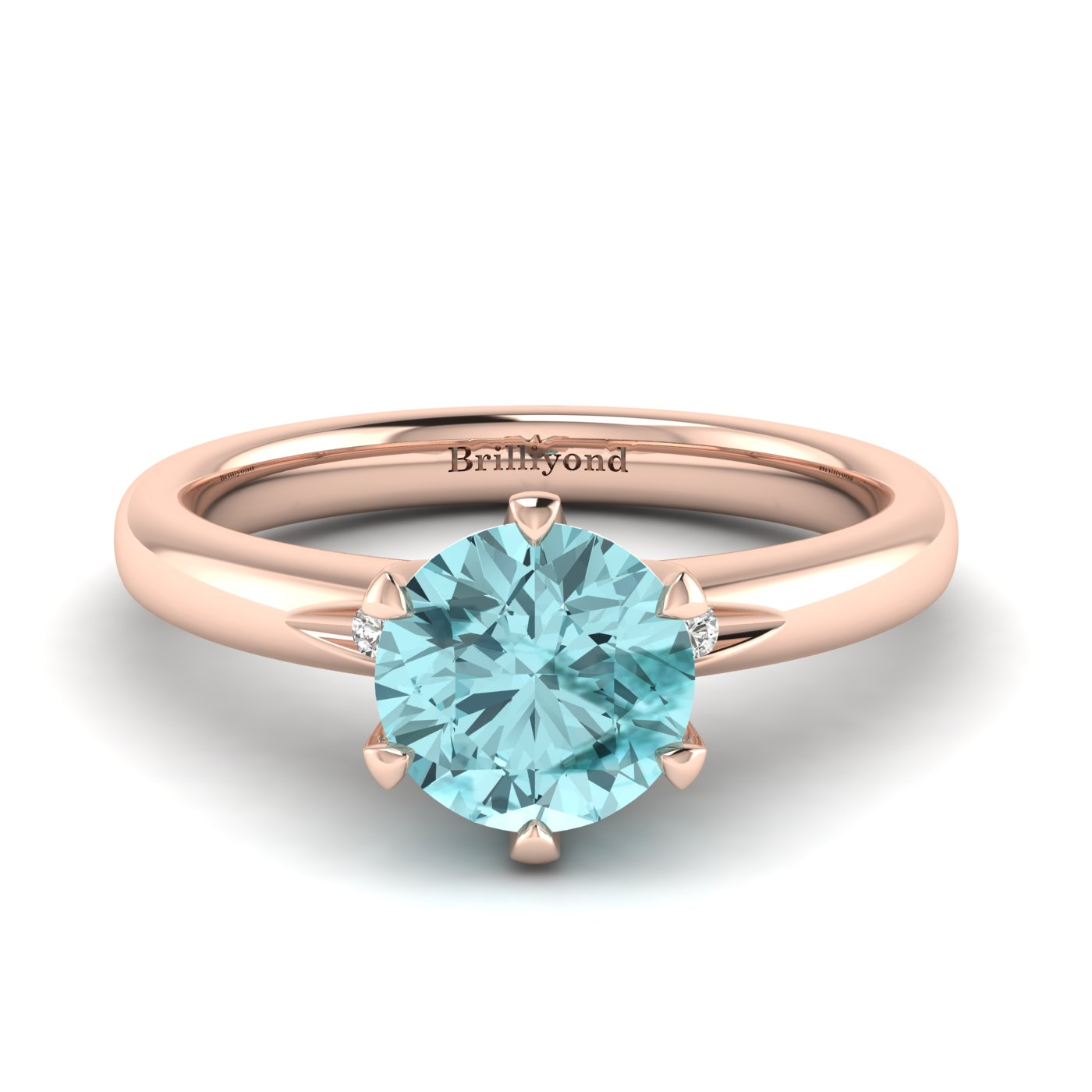 Aquamarine Rose Gold Solitaire Engagement Ring Byond_image2