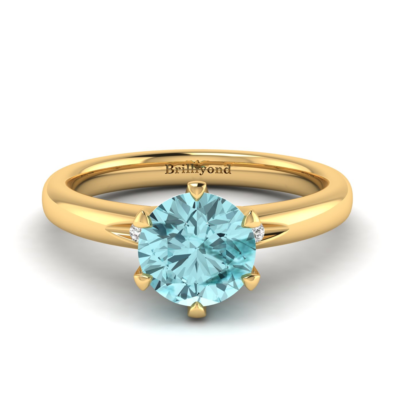 Aquamarine Yellow Gold Solitaire Engagement Ring Byond_image1