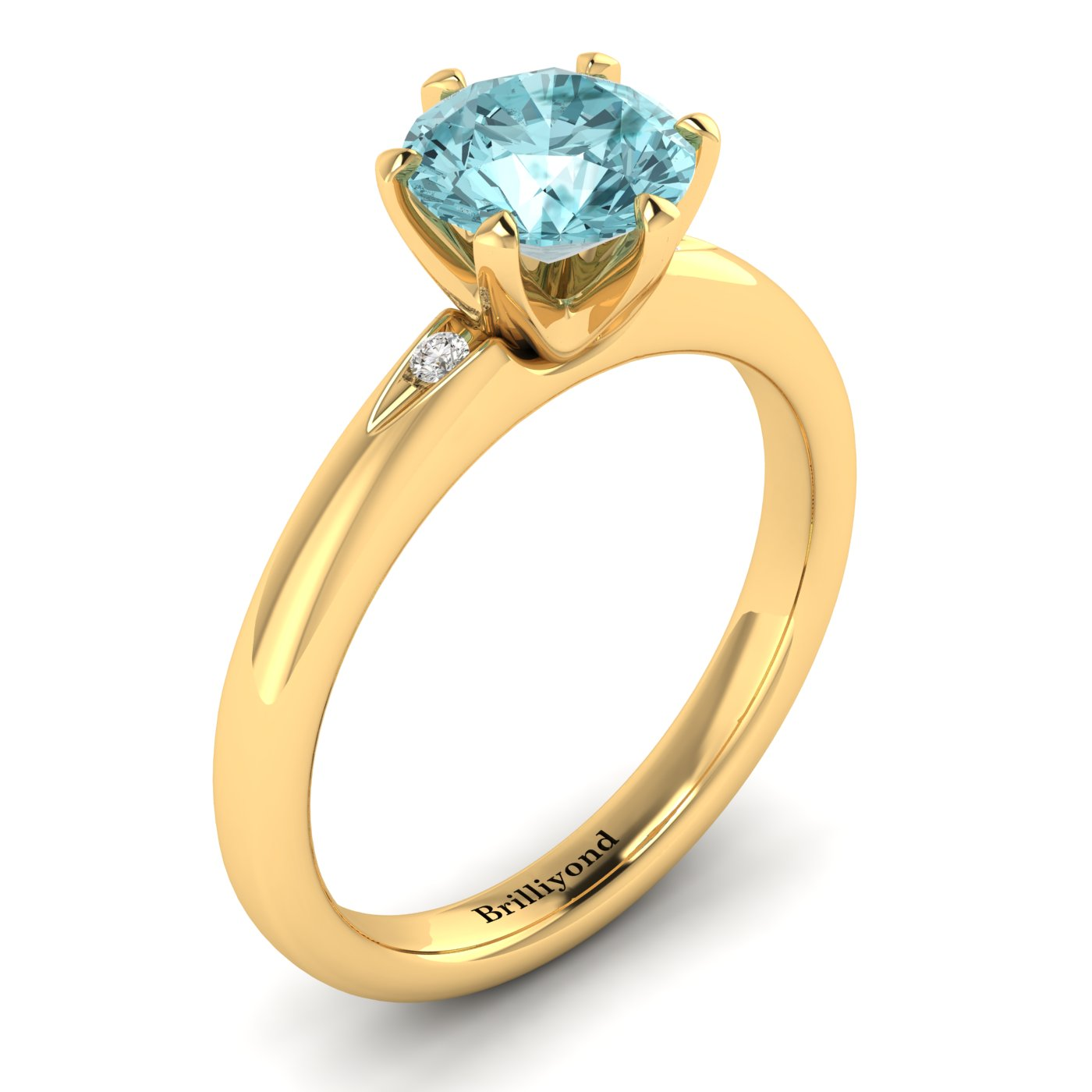 Aquamarine Yellow Gold Solitaire Engagement Ring Byond_image2
