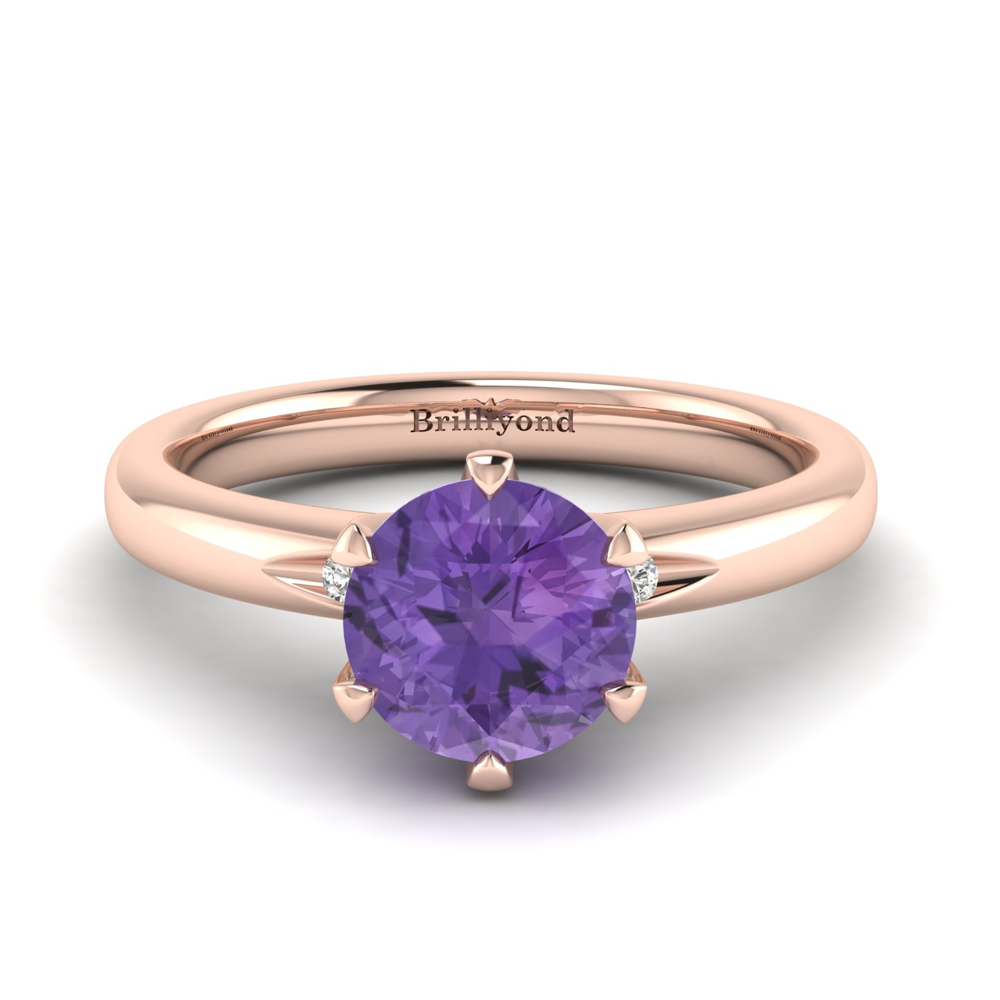 Amethyst Rose Gold Solitaire Engagement Ring Byond_image1