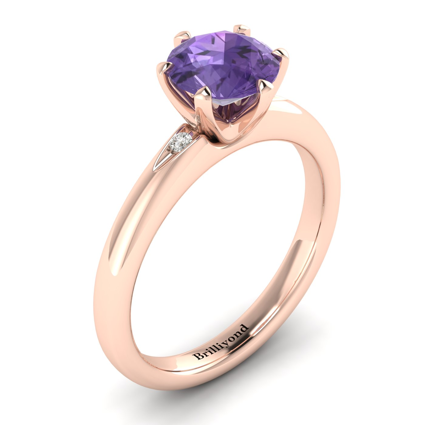 Amethyst Rose Gold Solitaire Engagement Ring Byond_image2