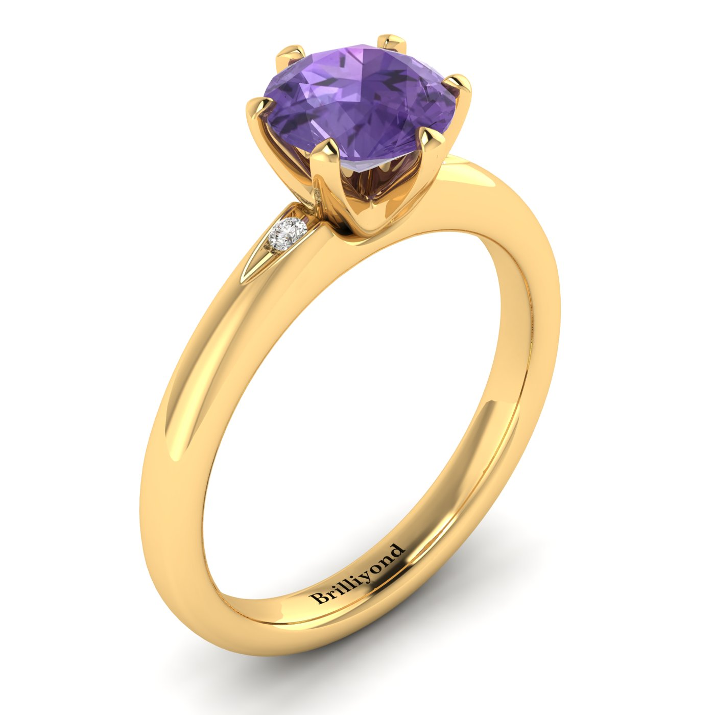 Amethyst Yellow Gold Solitaire Engagement Ring Byond_image1