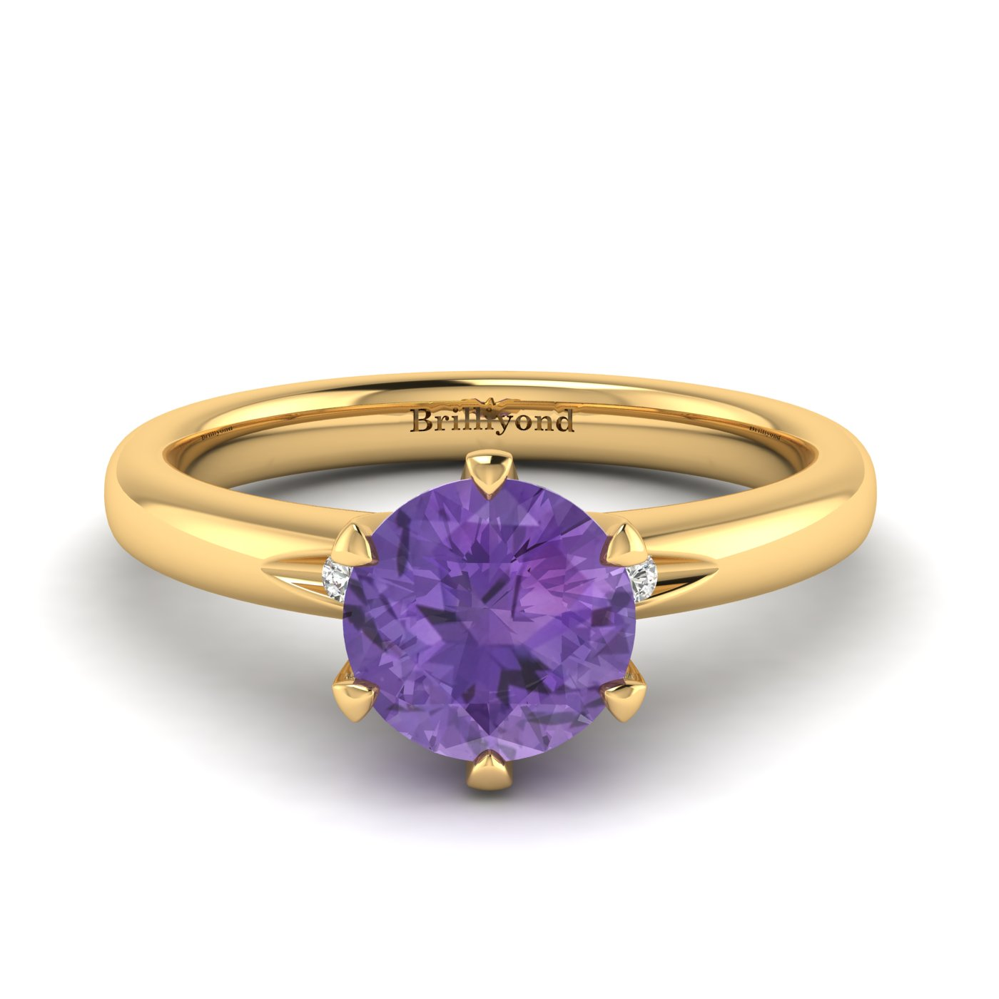 Amethyst Yellow Gold Solitaire Engagement Ring Byond_image2