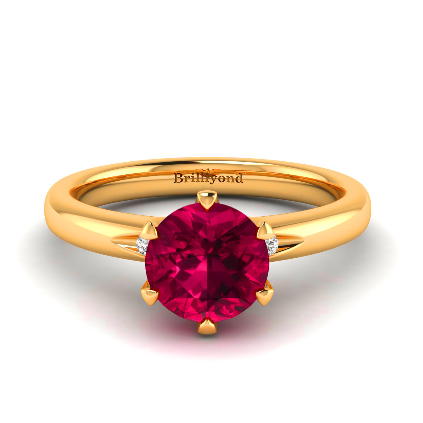 Ruby Ring with Diamond Accents on 18k Yellow Gold Band