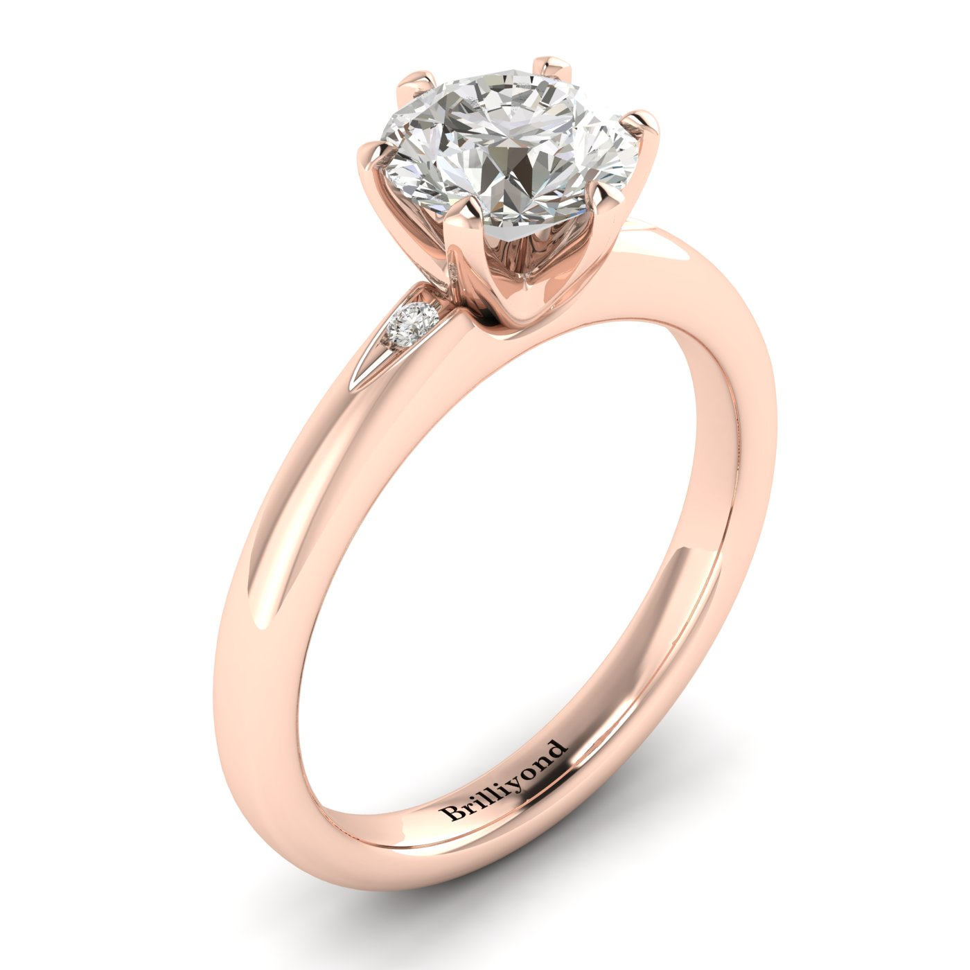 White Sapphire Rose Gold Solitaire Engagement Ring Byond_image2
