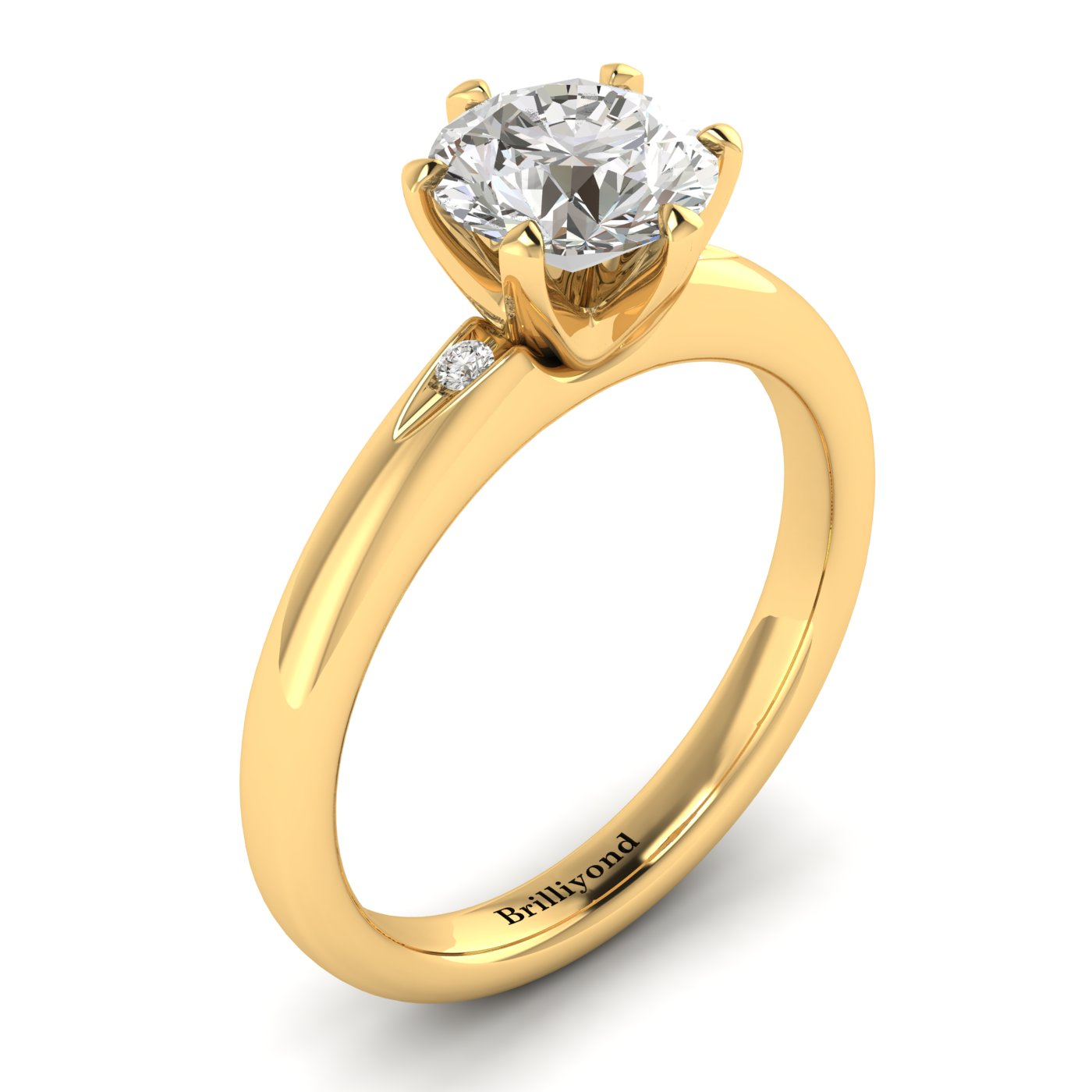 White Sapphire Yellow Gold Solitaire Engagement Ring Byond_image1