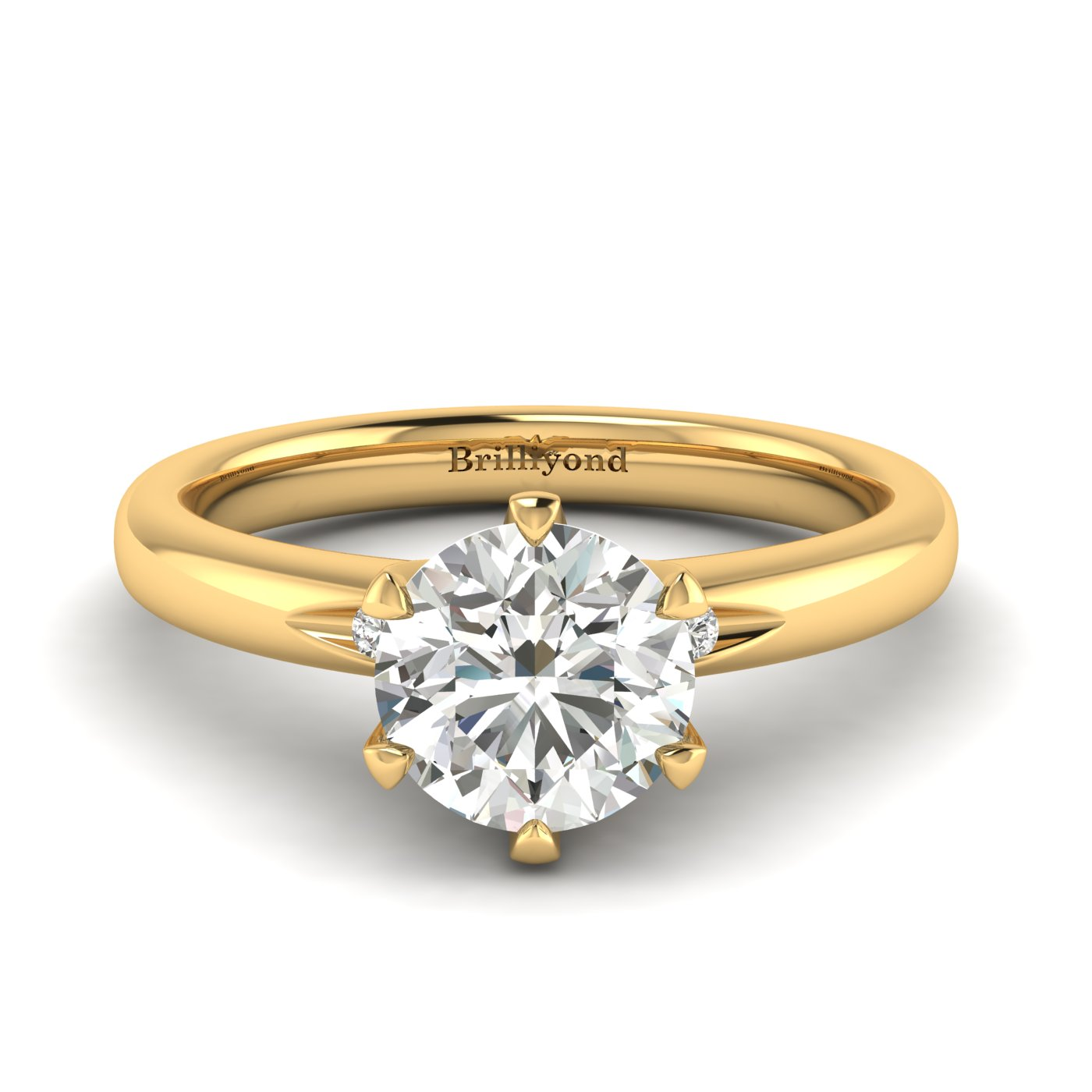 White Sapphire Yellow Gold Solitaire Engagement Ring Byond_image2