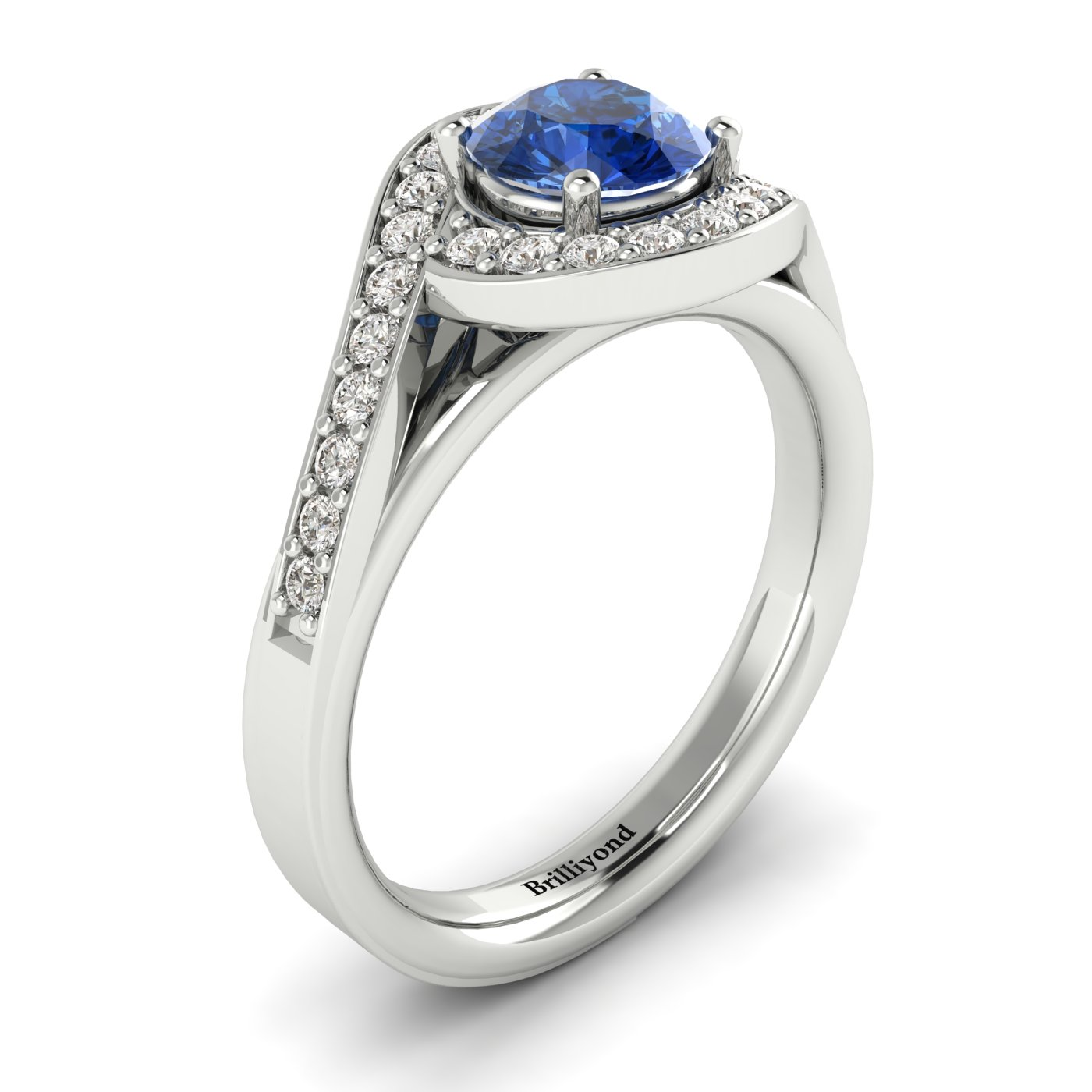 Side View of Blue Sapphire Halo Engagement Ring with GIA Certified Diamond Accents