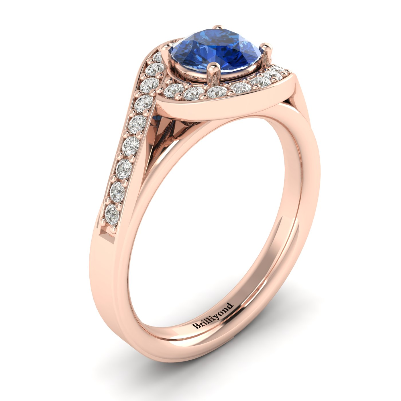 Blue Sapphire Rose Gold Halo Engagement Ring Marigold_image1