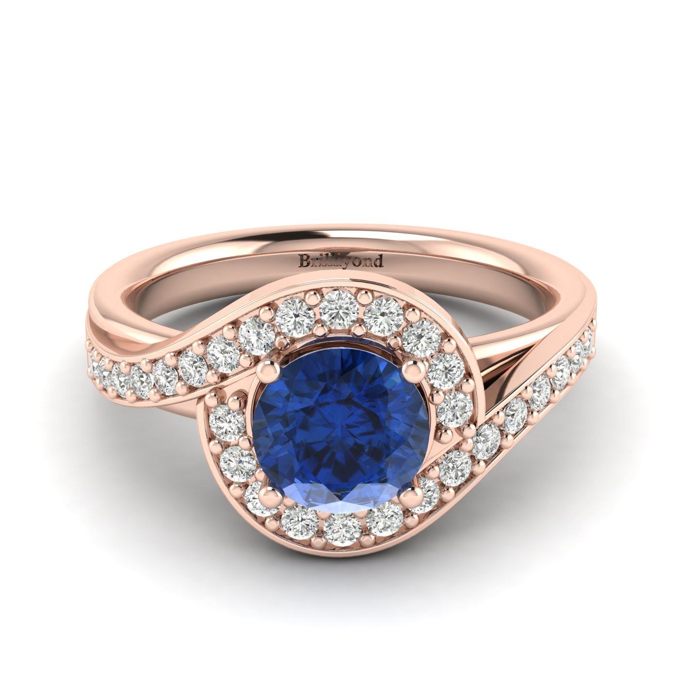 Blue Sapphire Rose Gold Halo Engagement Ring Marigold_image2