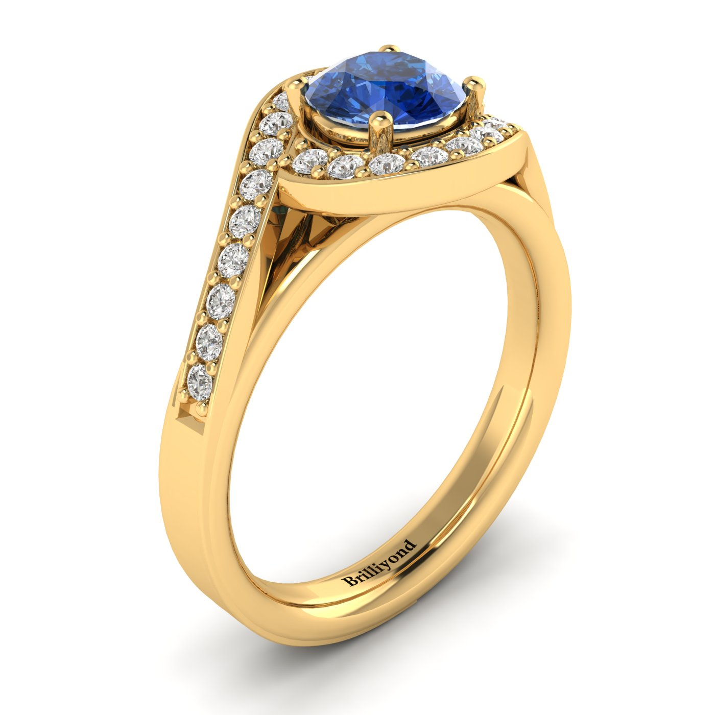 Blue Sapphire Yellow Gold Halo Engagement Ring Marigold