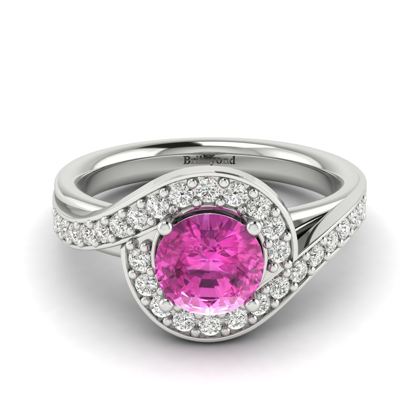 Pink Sapphire White Gold Halo Engagement Ring Marigold_image2