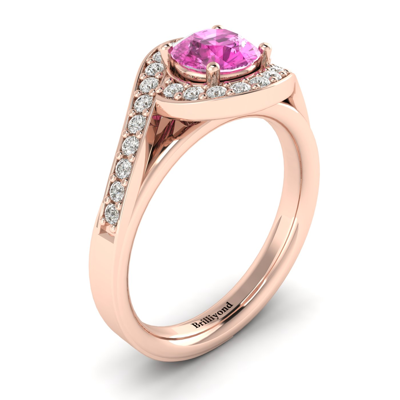 Pink Sapphire Rose Gold Halo Engagement Ring Marigold
