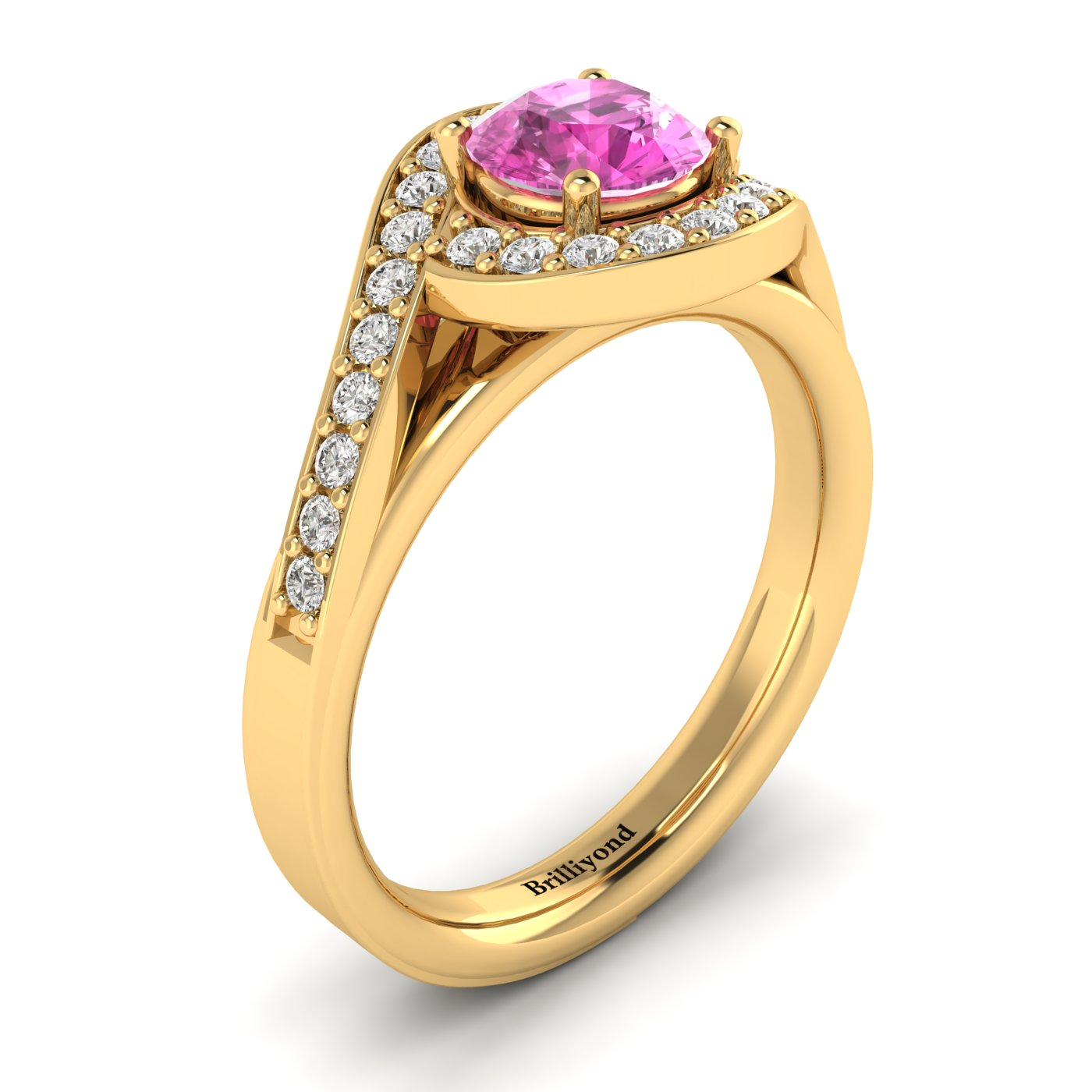 Pink Sapphire Yellow Gold Halo Engagement Ring Marigold_image1