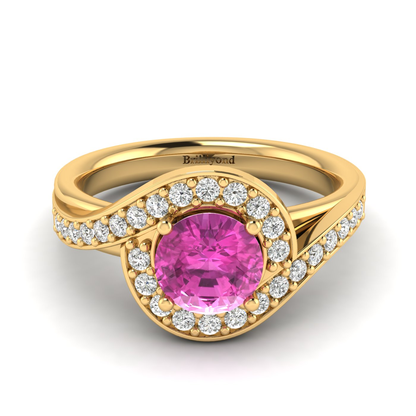 Pink Sapphire Yellow Gold Halo Engagement Ring Marigold_image2