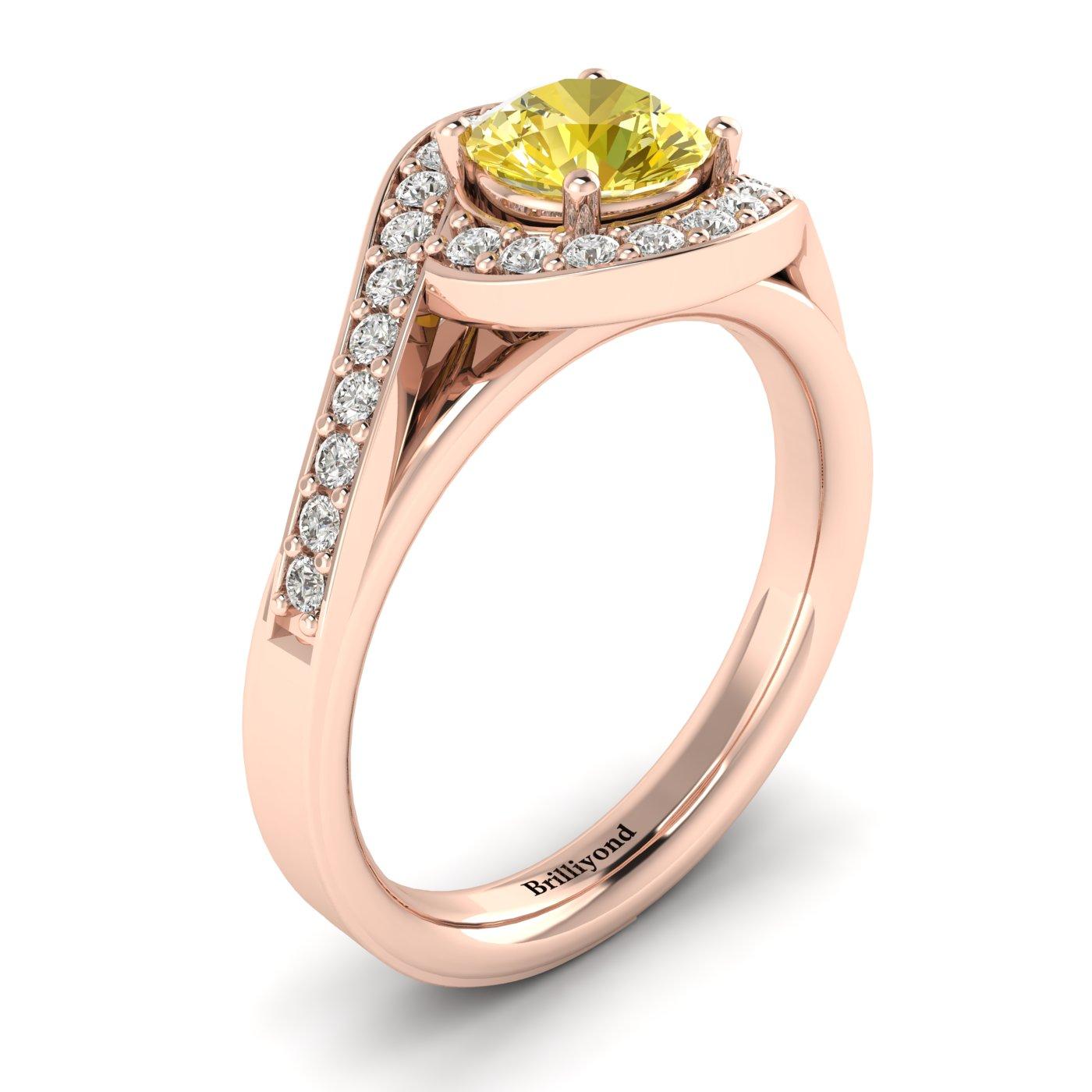 Yellow Sapphire Rose Gold Halo Engagement Ring Marigold_image1