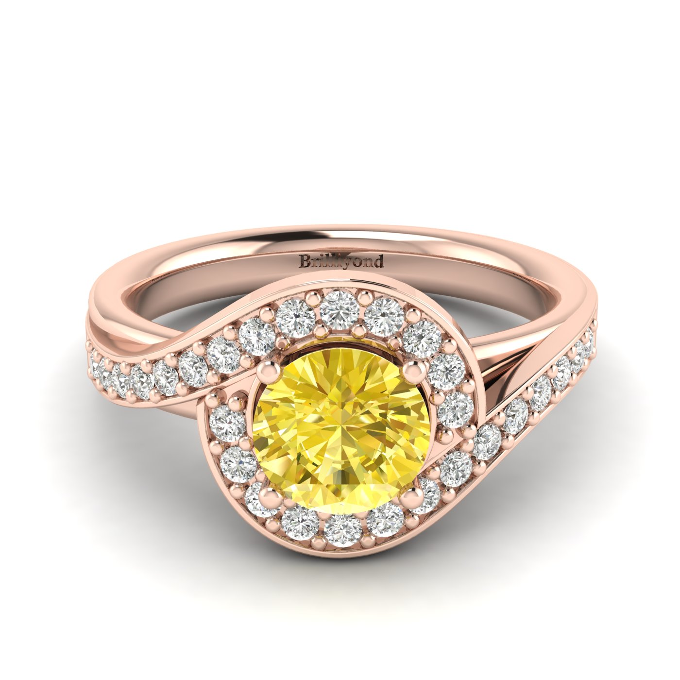 Yellow Sapphire Rose Gold Halo Engagement Ring Marigold_image2