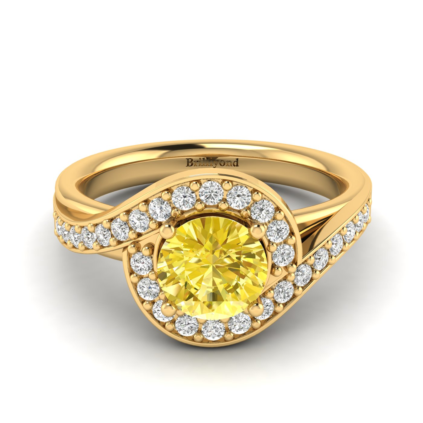 Yellow Sapphire Yellow Gold Halo Engagement Ring Marigold_image1