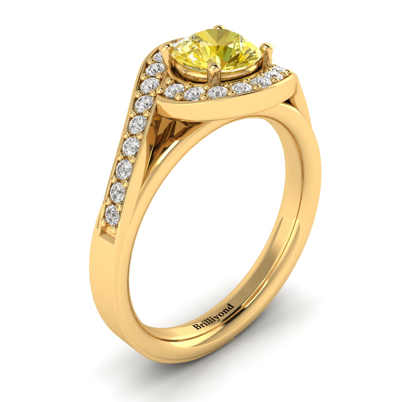 Yellow Sapphire Yellow Gold Halo Engagement Ring Marigold_image2