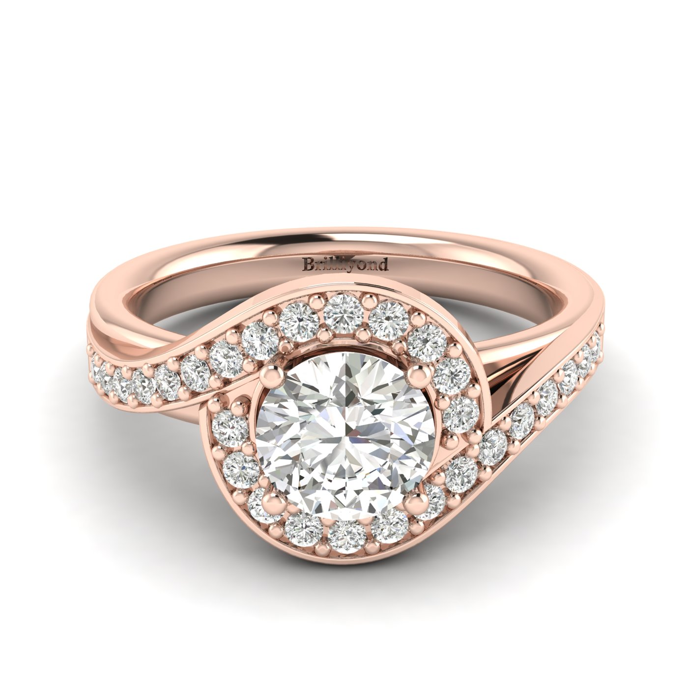 Diamond Rose Gold Halo Engagement Ring Marigold_image1