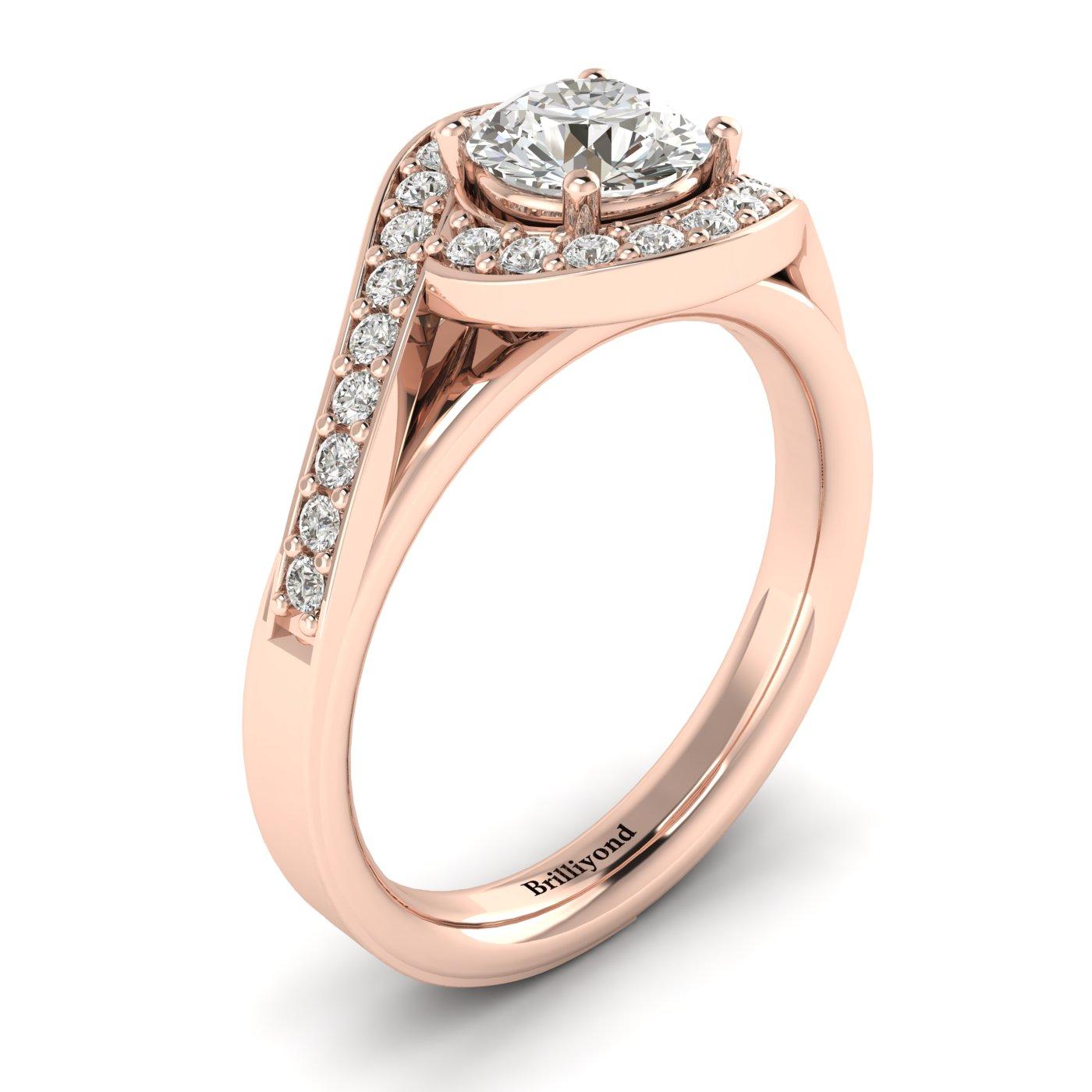 Diamond Rose Gold Halo Engagement Ring Marigold_image2