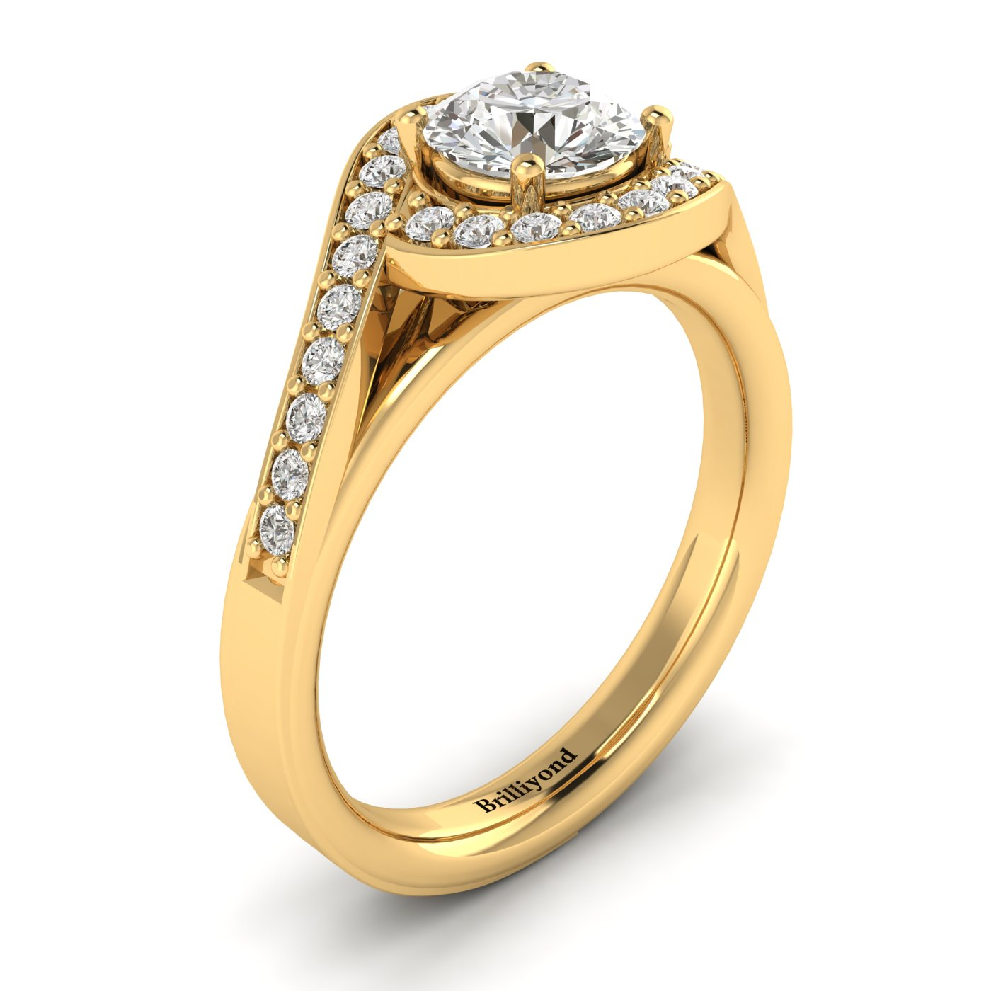 Diamond Yellow Gold Halo Engagement Ring Marigold_image1