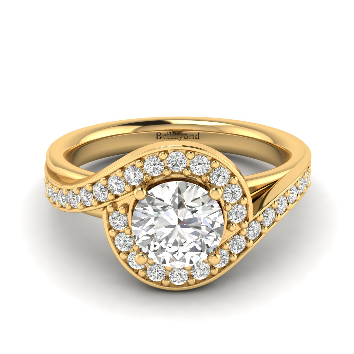Diamond Yellow Gold Halo Engagement Ring Marigold_image2