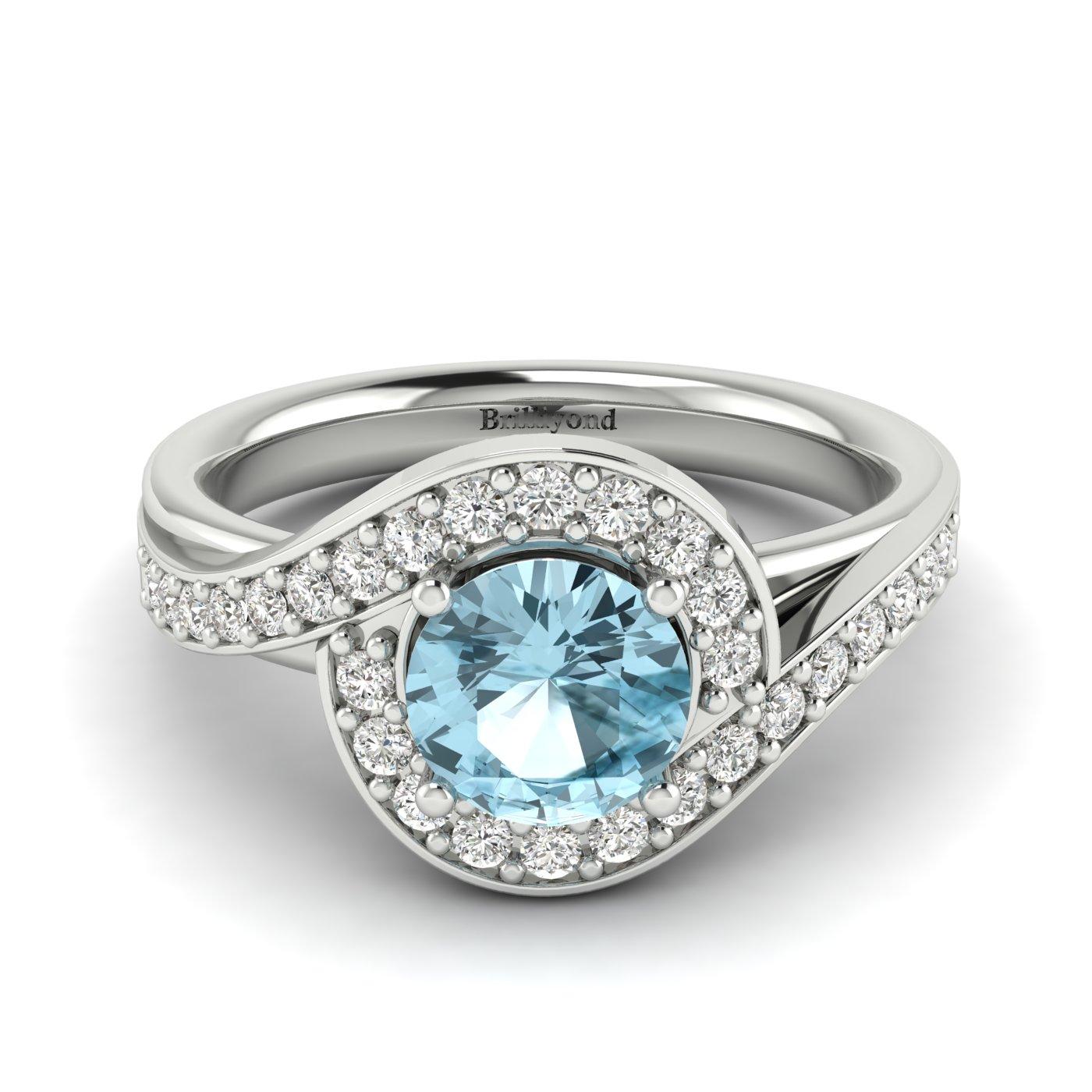 Aquamarine White Gold Halo Engagement Ring Marigold_image1