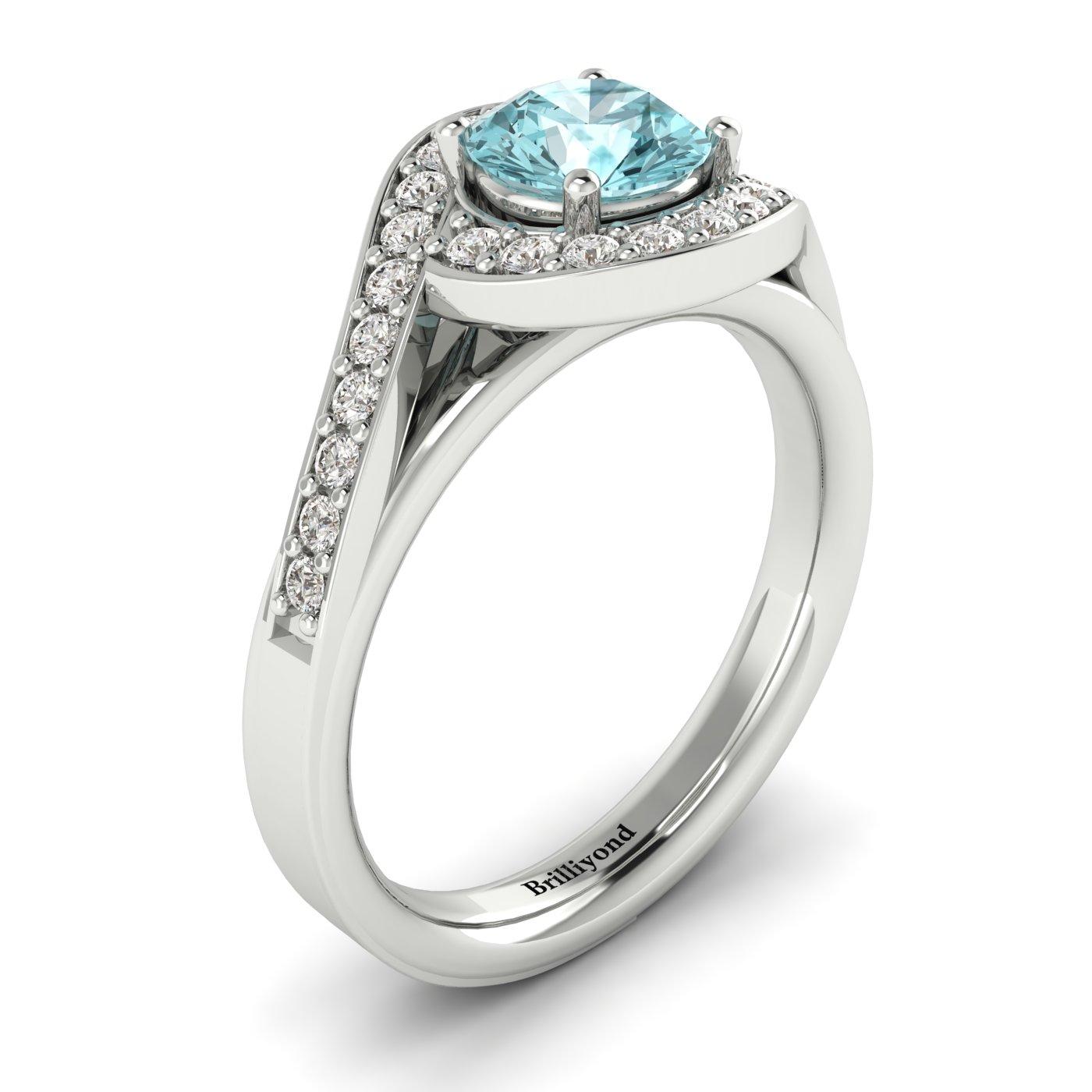 Aquamarine White Gold Halo Engagement Ring Marigold_image2