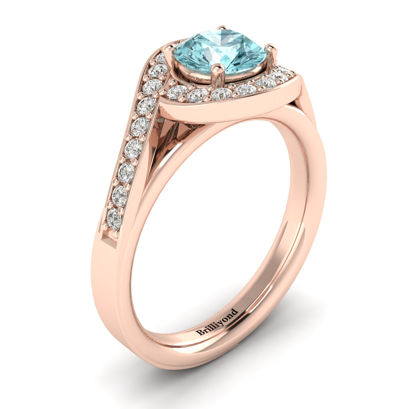 Aquamarine Rose Gold Halo Engagement Ring Marigold_image1