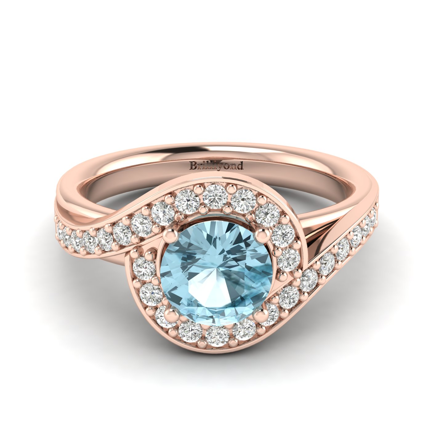 Aquamarine Rose Gold Halo Engagement Ring Marigold_image2