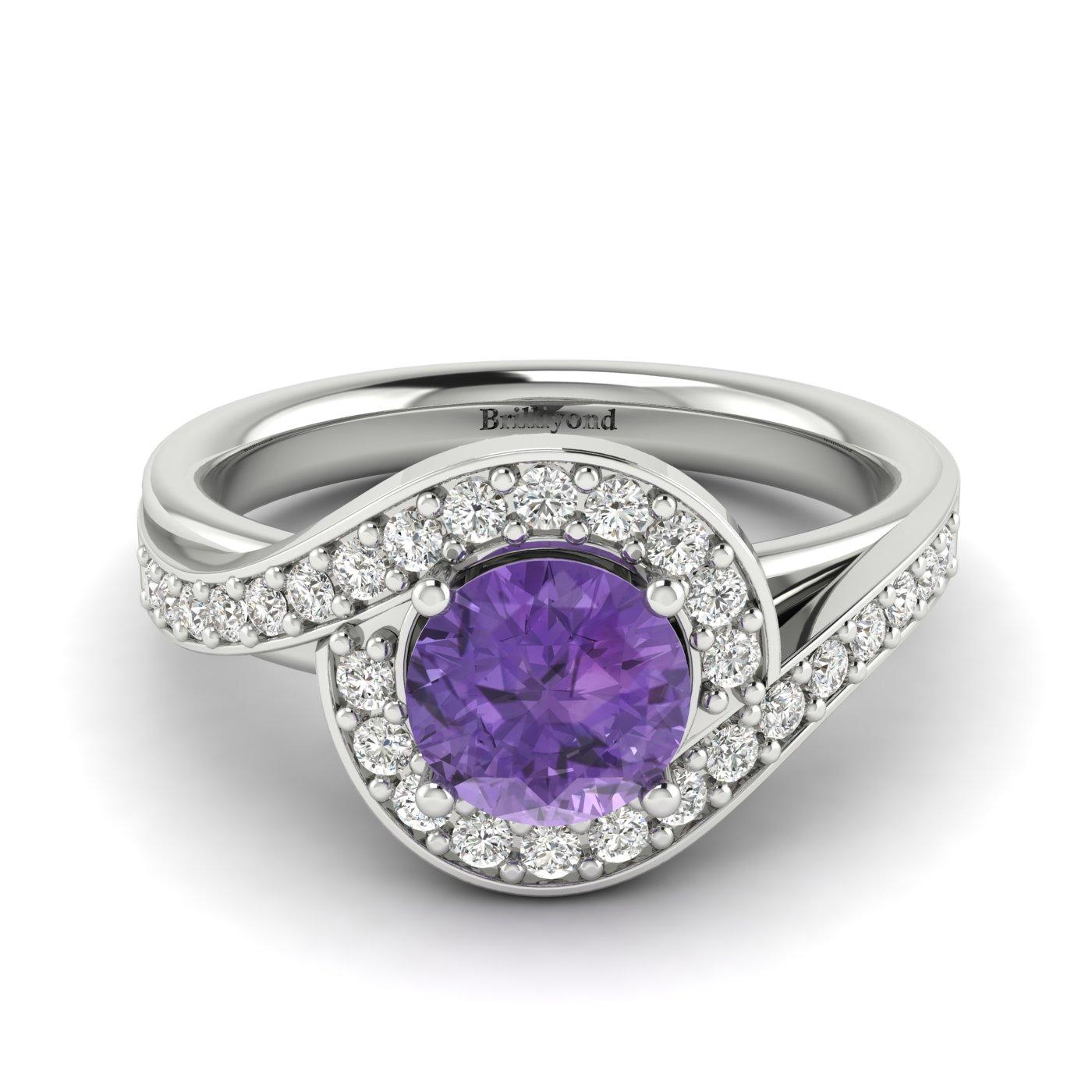 Amethyst White Gold Halo Engagement Ring Marigold_image1