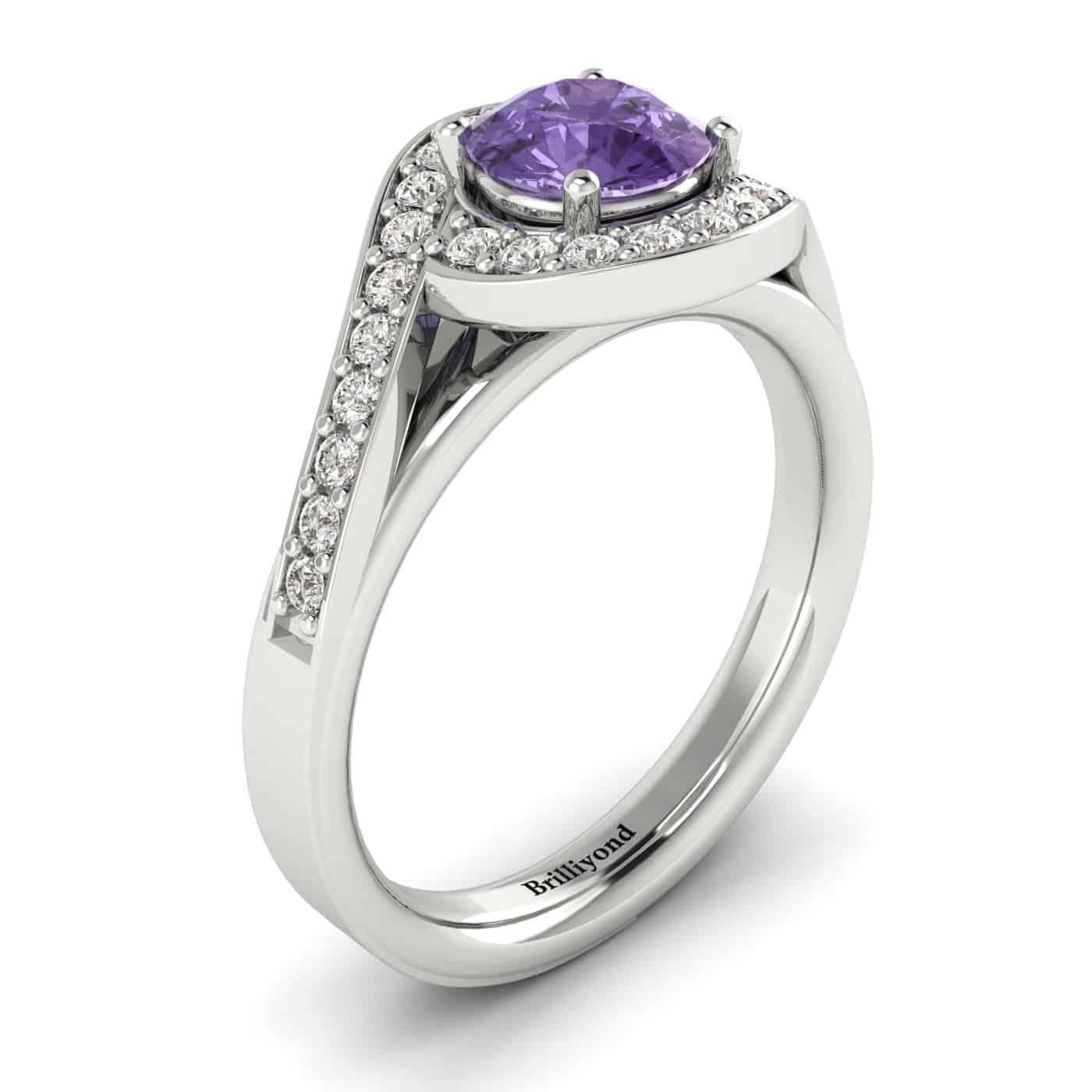Amethyst White Gold Halo Engagement Ring Marigold_image2