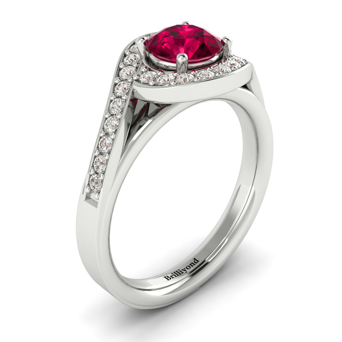 Princess Cut Ruby on 18k White Gold