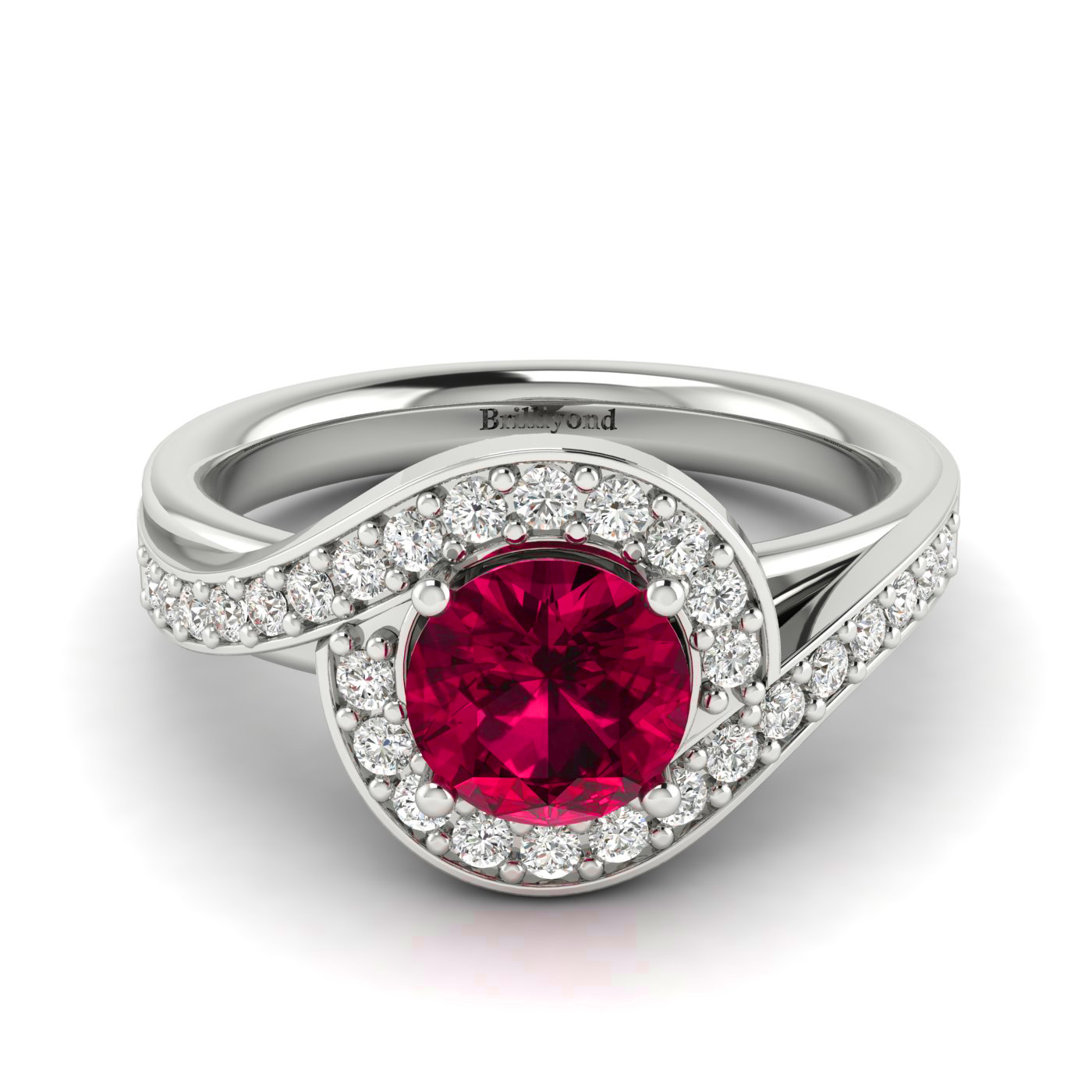 Created Diamond Halo Paves on this White Gold Ruby Ring