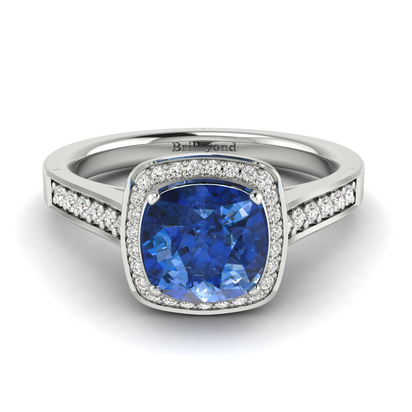 Blue Sapphire White Gold Cushion Cut Engagement Ring Arcadia_image1