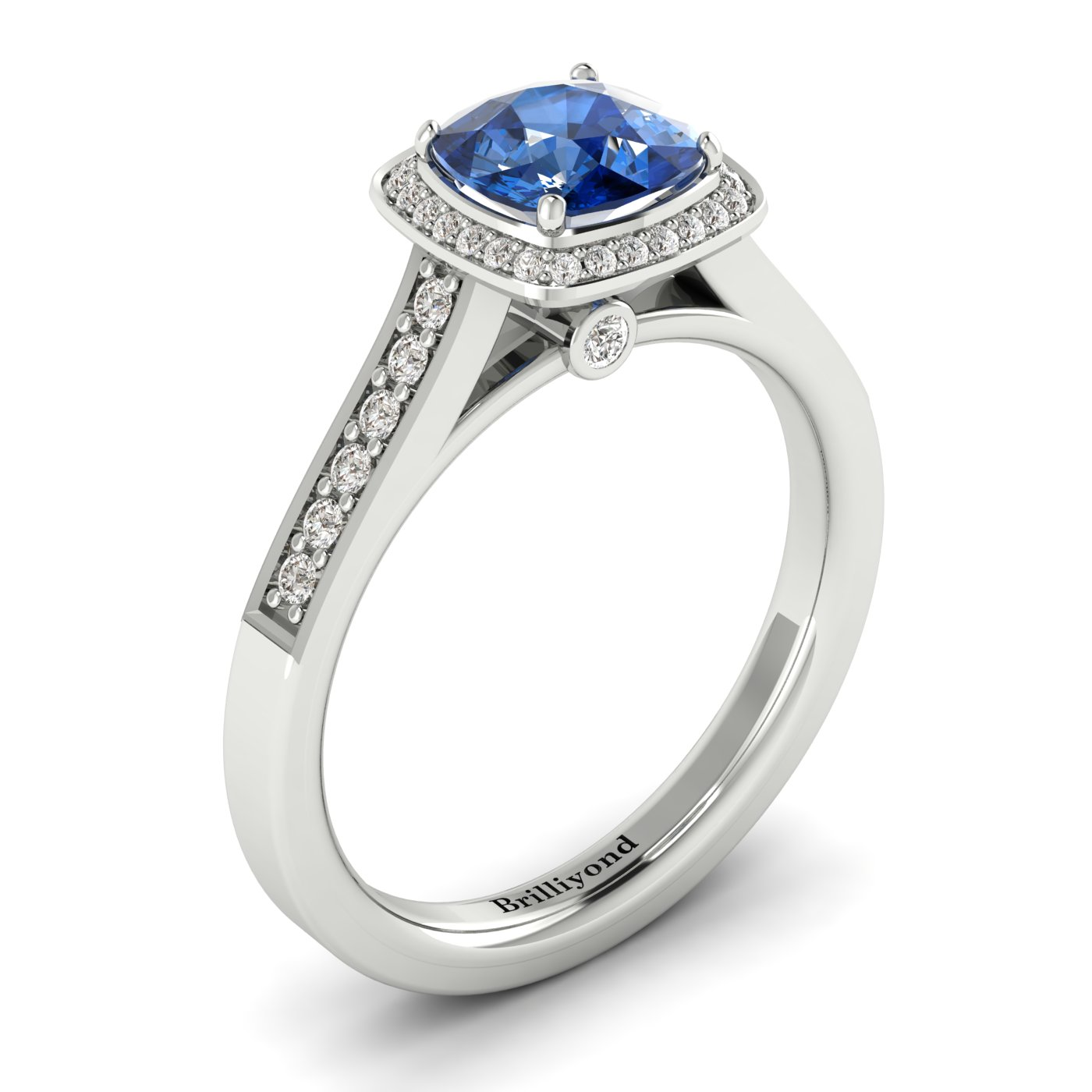 Blue Sapphire White Gold Cushion Cut Engagement Ring Arcadia_image2