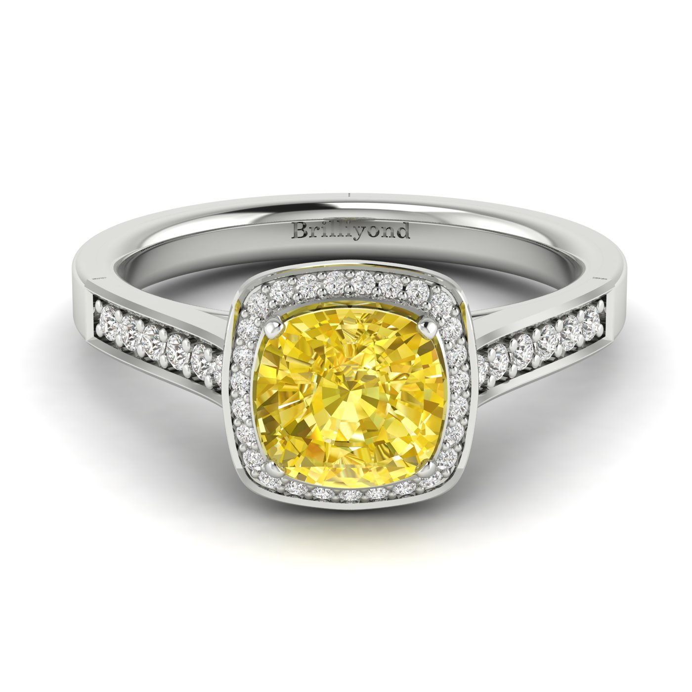 Yellow Sapphire White Gold Cushion Cut Engagement Ring Arcadia_image1