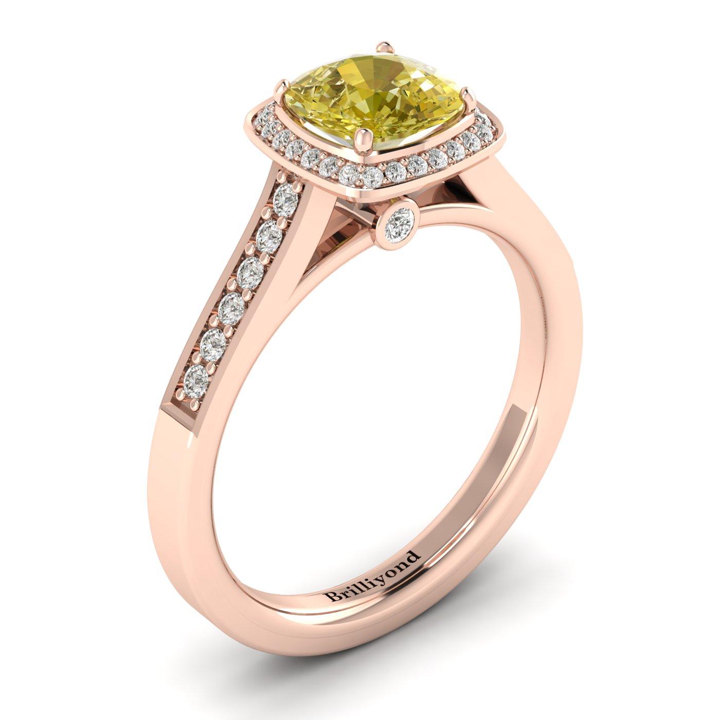 Yellow Sapphire Rose Gold Cushion Cut Engagement Ring Arcadia_image2