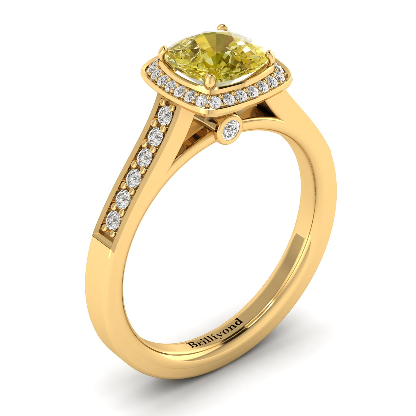 Yellow Sapphire Yellow Gold Cushion Cut Engagement Ring Arcadia_image1