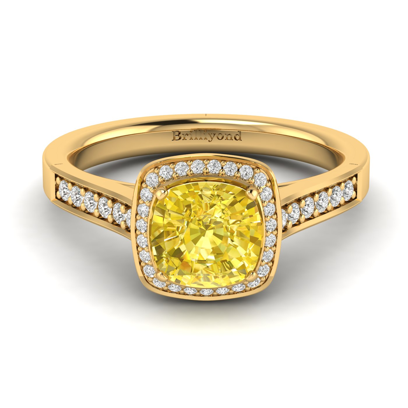Yellow Sapphire Yellow Gold Cushion Cut Engagement Ring Arcadia_image2