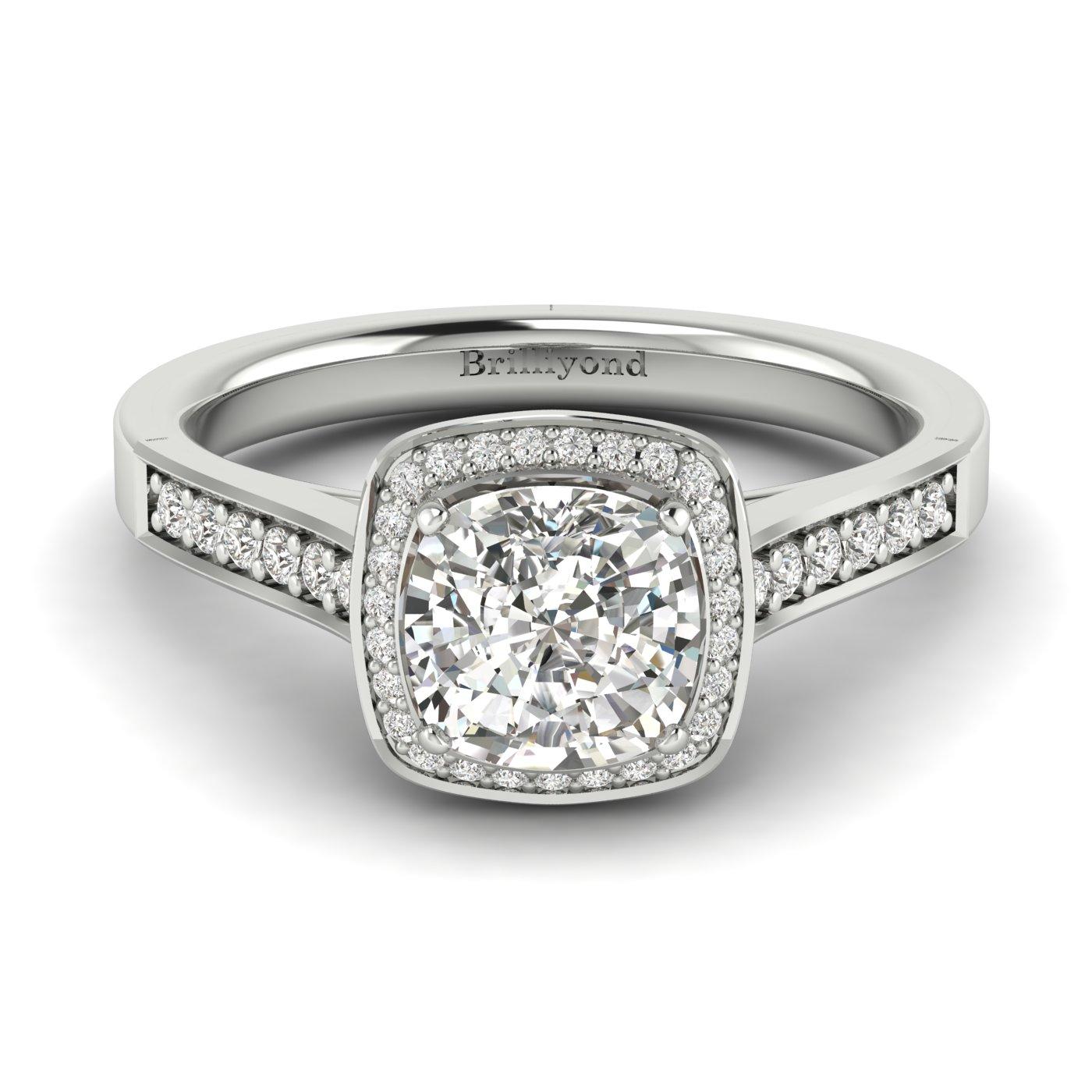 Diamond White Gold Cushion Cut Engagement Ring Arcadia_image1